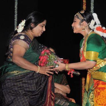 Smt. Veena Murthy Vijay being felicitated